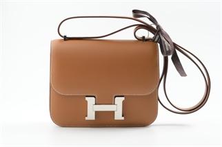 Hermes Mini Constance 19 金棕色銀扣