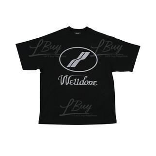 WE11DONE 黑色 銀反光Logo 男女同款 T恤