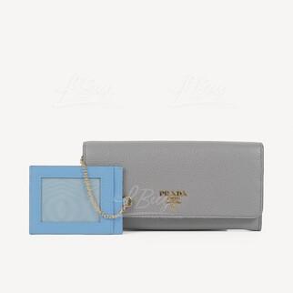 Prada Daino Colour大象灰色皮革長型銀包WOC 附帶卡包