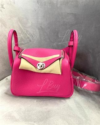 Hermes Lindy Mini Bag 單肩手袋 5R Rose Shocking艷桃粉 銀扣