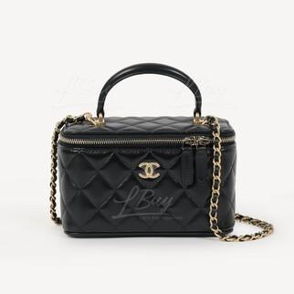 Chanel Vanity Case 黑色手挽鏈帶長型化妝盒子