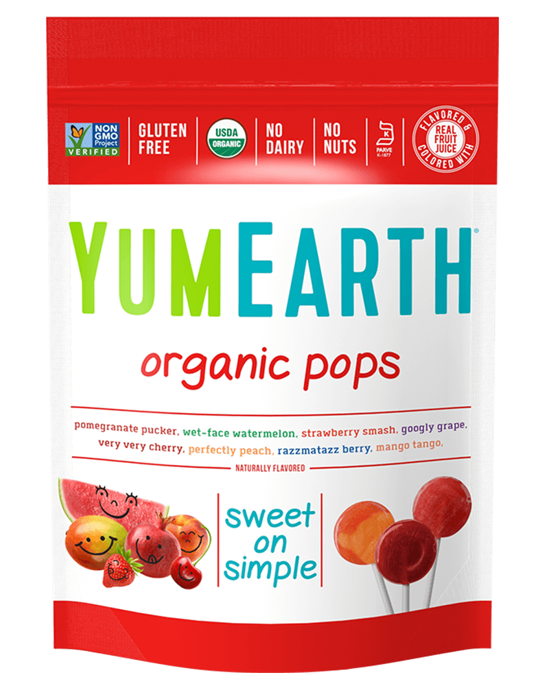 YumEarth Organic Fruit Lollipops (14pops) 4 Flavors (Mango Tango, Pomegranate Pucker, Tooberry Blueberry, Wet-face Watermelon)