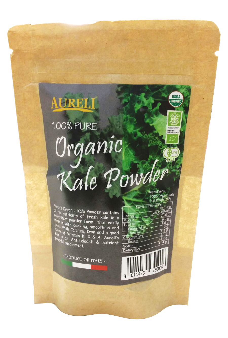 Aureli 100% Pure Org. Kale Powder 80g