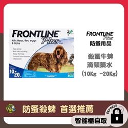 *智能櫃 免運費*Frontline Plus 狗用殺蚤除牛蜱滴頸藥水 (10Kg -20Kg) 藍色