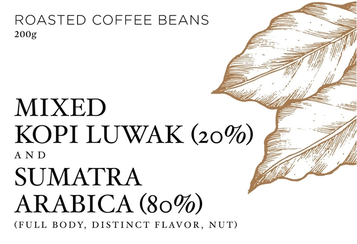 MIXED KOPI LUWAK (FREE RANGE CIVET) (20%) AND SUMATRA ARABICA (80%)